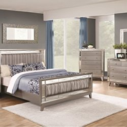 Coaster Home Furnishings Leighton Bedroom Beautiful Metallic Leatherette Upholstery 4pc Set Queen Size Bed Accent Mirrored Panel Dresser Mirror Nightstand
