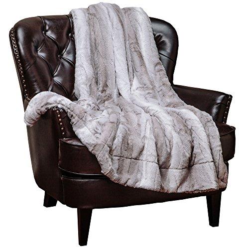Chanasya Super Soft Fuzzy Fur Elegant Throw Blanket   Faux Fur Falling Leaf Pattern Fluffy Plush Sherpa Cozy Warm Grey Microfiber Blanket for Bed Couch Living Bed Room - Grey and White - 60'x70'