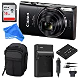 Canon PowerShot ELPH 360 Digital Camera w/Wi-Fi & NFC Enabled (Black) Essential Bundle - Digital Camera Case + 16GB SD Card + Extra Battery & Battery Charger Kit + DigitalAndMore Micro Fiber Cloth