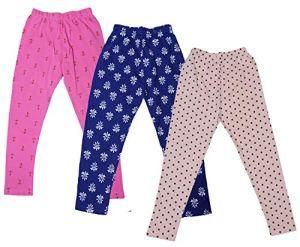 IndiWeaves Girl's Cotton Printed leggings (Pack of 3)