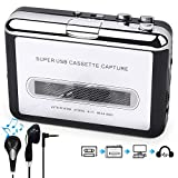 By-Heart Cassette Player Portable, Walkman Cassette Player from Tapes to MP3/WAV/CD Converter Via USB, Audio Music Player Capture Cassette Recorder with Headphones for Laptop/PC/Mac