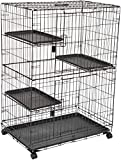 AmazonBasics Large 3-Tier Cat Cage Playpen Box Crate Kennel - 36 x 22 x 51 Inches, Black