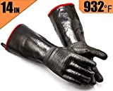 RAPICCA BBQ Gloves Heat Resistant-Smoker, Grill, Cooking Barbecue Gloves, for Handling Heat Food Right on Your Fryer, Grill or Oven. Waterproof, Fireproof, Oil Resistant Neoprene Coating ?14-Inch ?