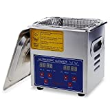 Flexzion Commercial Ultrasonic Cleaner Large Capacity Stainless Steel with Heater and Digital Timer for Electronic Tool Jewelry Watch Glasses Rings Dental Lab Hospital Instruments (1.5L Capacity)