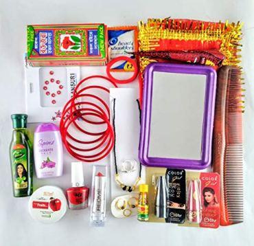 Kumars-Collection-MATA-Rani-Solah-Shringar-Set-for-Durga-Puja-Karwachauth-Diwali-and-Other-OccasionDevi-solah-shringar-Set-Packed-in-Steel-ThaliPack-of-21-Items