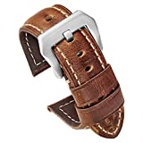 Carty Mens Watch Bands Oil Wax Calfskin Handmade Brown Leather Watch Straps 22mm Brushed Silver Buckle