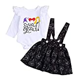 Halloween Kids Toddler Baby Girls Dresses Outfit Ruffled Long Sleeve T-Shirt+Witch Hat Print Strap Skirt Set (Black, 18-24 Months)