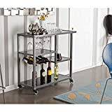 Product review for Holly & Martin Zephs Bar Cart, Gunmetal Gray Finish with Black Tempered Glass