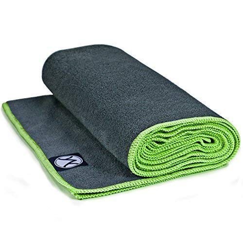 Youphoria Hot Yoga Towel, Non Slip, Super Absorbent, Plush Microfiber Yoga Mat Towel for Hot Yoga, Bikram and Yoga Mat Grip, Washable, 24 inches x 72 inches, Gray Towel/Green Trim