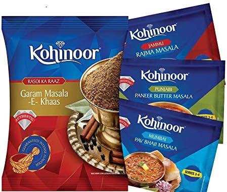 51GHPzvK4OL. AC  - Kohinoor Rajma Masala, 15g with Pav Bhaji Masala, 15g, Paneer Masala, 15g and Garam Masala, 40g Combo Pack