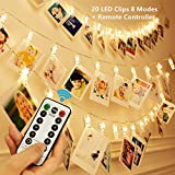 KingYue 20 LED Photo Clip String Lights, 8 Modes Fairy String Lights with Remote & Timer Function, Home/Party/Christmas Decor Lights for Hanging Photos Pictures, Cards, Memos and Artwork, Warm White