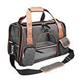 Purrpy Premium Cat Dog Carrier Airline Approved Soft Sided Pet Travel Bag, Car Seat Safe Carrier Deep Grey