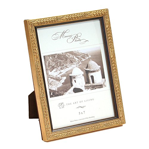 Maxxi Designs Photo Frame with Easel Back, 8 x 10, Wood Antique Gold Leaf San Marco
