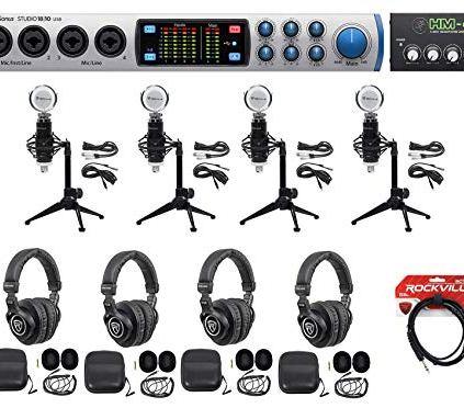 Presonus-4-Person-Podcast-Podcasting-Kit-STUDIO-1810-InterfaceMicsDesk-Stands