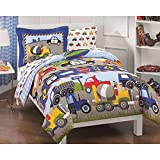 Trains and Construction Trucks Twin Size Comforter Bed in a Bag Kids Bedding Childrens Bedding Comforters
