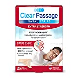 Clear Passage Nasal Strips Extra Strength, Tan, 26 Count | Works Instantly to Improve Sleep, Reduce Snoring, Relieve Nasal Congestion Due to Colds & Allergies