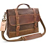 NEWHEY Mens Messenger Bag Waterproof Canvas Leather Computer Laptop Bag 15.6 Inch Briefcase Case Vintage Retro Waxed Canvas Genuine Leather Large Satchel Shoulder Bag College Brown