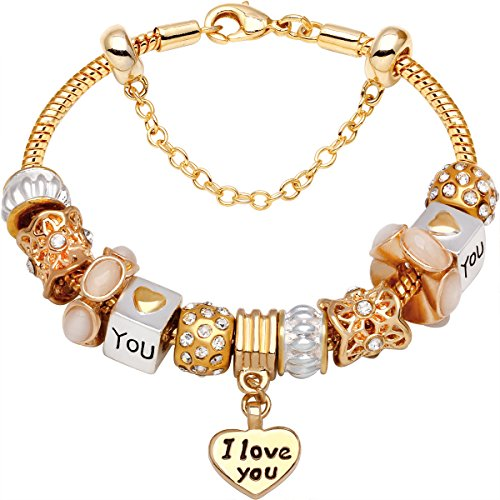 'I Love You With All My Heart' Gold-Tone Love Heart Bead Charm Bracelet