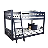 Max & Lily Solid Wood Twin Low Bunk Bed, Blue