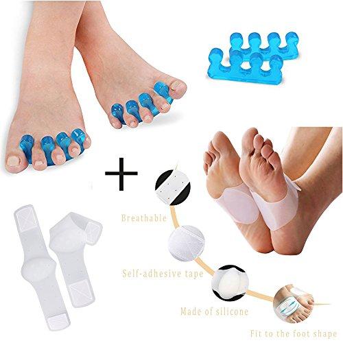 Gel Toes Separator & Streightener + Silicone Foot Arch Support  Used as Feet Spacer, Stretchers, Toe Spreader & Corrector  Help Plantar Fasciitis, Hammer Toes, Bunions, Toe Corrector, Foot Pain Relief