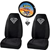 U.A.A. INC. Silver Superman Seat Covers and Steering Wheel Cover Combo