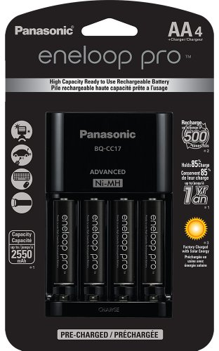 Panasonic K-KJ17KHCA4A Advanced Individual Cell Battery Charger Pack with 4 AA eneloop pro High Capacity Ni-MH Rechargeable Batteries