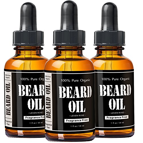 Fragrance Free Beard Oil & Leave In Conditioner by Leven Rose, 100% Pure  Natural for Groomed Beards, Mustaches, and Moisturized Skin 1 oz