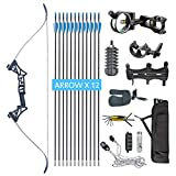 XQMART XGeek Archery Takedown Recurve Bow Package R3 Ready To Shoot Archery Set For Bow (camouflage, Draw Length-40) (black2, Draw Weight :40) (BLACK, Draw Weight:40)