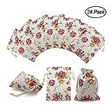 24 Pack Rose Double Drawstring Burlap Bags Gift Burlap Favor Bag Reusable Linen Bags Jewelry Pouches Sacks for Wedding Party, 3.7'x 4'