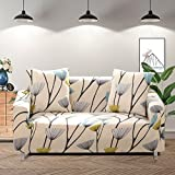 Lamberia Printed Sofa Cover Stretch Couch Cover Sofa Slipcovers for 3 Cushion Couch with One Free Pillow Case (Dandelion, Sofa 3 Seater)