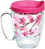 Tervis 1260648 Japanese Cherry Blossom Coffee Mug With Lid, 16 oz, Clear