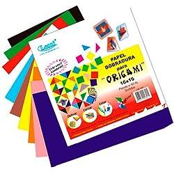 Papel para Dobradura Origami Colorido 10X10cm 60 Unidades