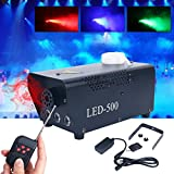 500W Wireless Remote Control Portable Christmas and Party Fog Machine with Built-In Colored LED Lights for Holidays, Weddings - impressive output