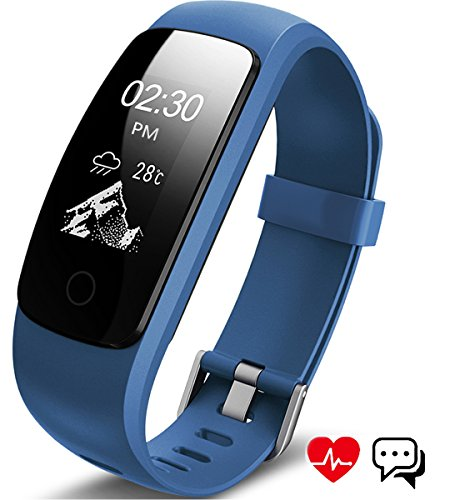 ANEKEN Fitness Tracker Activity Tracker with Heart Rate Monitor Bluetooth Smart Bracelet with Sleep Monitor Smart Watch for Android or iOS,iphone,or Other Smartphone,Blue