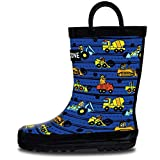 LONECONE Rain Boots with Easy-On Handles in Fun Patterns for Toddlers and Kids, Construction Monsters, 7 Toddler