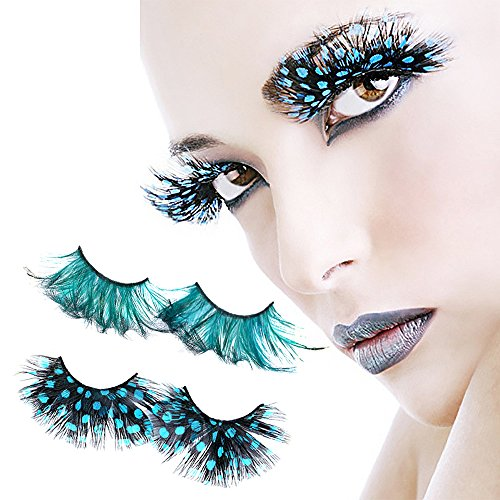 Face Forever 2 pairs Real Feather Deluxe Party False Eyelashes Eye Lashes For Halloween Party