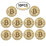 zcccom Bitcoin Coin Deluxe Collector's Set   Featuring the Limited Edition Original Commemorative Tokens Each Coin Comes w/ a Plastic Round Display Case (10 pcs Gold)