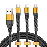 ICSEIO Micro USB Cable 6ft,3Pack 6Feet Long Android Charging Cable,Nylon Braided High Speed USB 2.0 Data Sync Charging Cord for Samsung, HTC, Motorola, Nokia, Kindle, MP3,Tablet and More-Gold