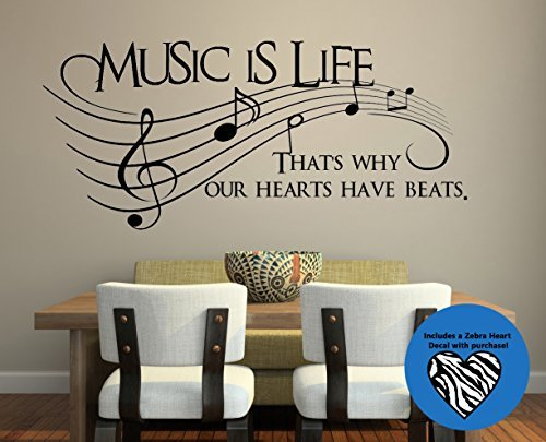 Music Is Life.. That's Why Our Hearts Have Beats Vinyl Wall Decal Sticker Art (Extra Large 42