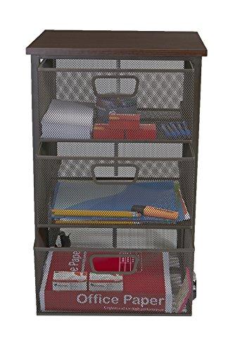 Mind Reader Rolling Storage Cart with 3 Drawers, File Storage Cart, Utility Cart, Office Cart Drawer Storage, Bathroom Storage