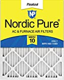 Nordic Pure 16x25x1 MERV 10 Pleated AC Furnace Air Filter, Box of 6