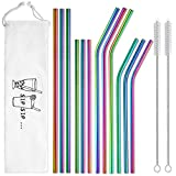 Reusable Metal Straws Rainbow Color with Travel Case - Hiware 12-Pack Stainless Steel Drinking Straws for 30oz and 20oz Tumblers Dishwasher Safe, 2 Cleaning Brushes Included