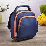 Fit & Fresh Mini Lunch Backpack, Insulated with Side Drink Pocket and Front Zippered Pocket, Navy & Orange