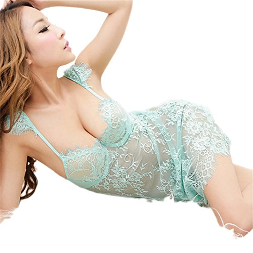O'Mango Women Sexy Lace Baby Doll Lingerie Dress with Matching Thong Panties