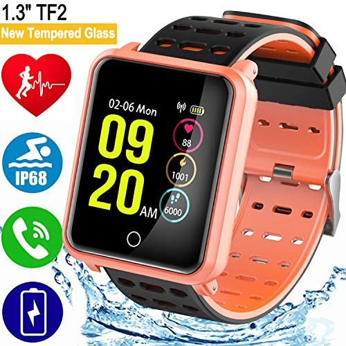 1.3' TF2 Smart Watch for Men Women Smartwatches Fitness Activity Tracker Ip68 Waterproof Blood Pressure HR Monitor Pedometer Color Screen Sport Watch for Android Phones iOS Fathers Day Birthday Gift