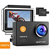 APEMAN Action Camera WiFi 14MP 1080P FHD Sports Camera 2.0 inch LCD Display & 170 Degree Ultra Wide-Angle Lens - 2 Rechargeable 1050mAh Batteries & Full Accessories Kits