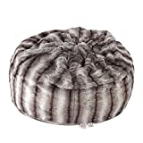 LUCKYERMORE Faux Fur Bean Bag Chair Luxury and Comfy Big Beanless Bag Chairs Plush Furry Chair Soft Sofa Lounger for Adults and Kids,Sponge Filling, 3 ft, Grey Streak Print