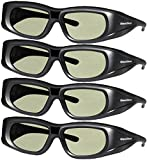DLP LINK 144 Hz Ultra-Clear HD 4 PACK 3D Active Rechargeable Shutter Glasses for All 3D DLP Projectors - BenQ, Optoma, Dell, Mitsubishi, Samsung, Acer, Vivitek, NEC, Sharp, ViewSonic & Endless Others!
