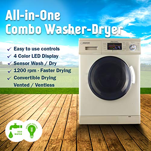 Equator 24 inch New Version All-in-One Combo Washer-Dryer, Vented or Ventless, 1200 RPM, Auto Water, Auto Dry, Winterize, Quiet, Fully Digital in White