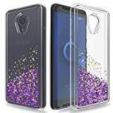 Ayoo for:Alcatel 1X Evolve Case,Alcatel TCL LX (A502DL) Case,Alcatel IdealXtra 5059R Case with HD Screen Protector,Bling Liquid Luxury Glitter Soft TPU+PC Clear Case for Alcatel 1X Evolve-XX Purple
